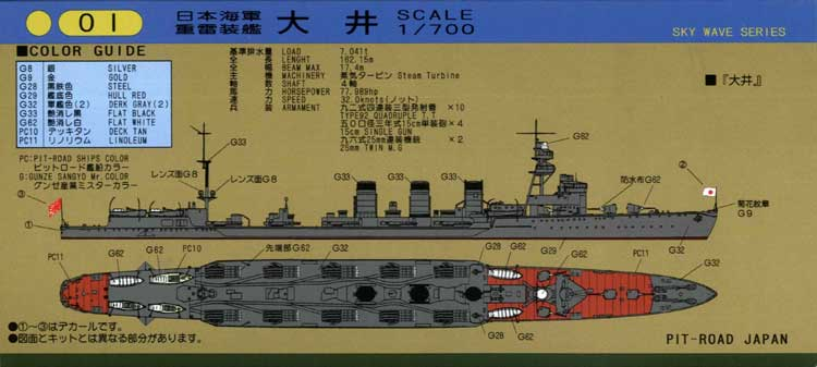 W46 1/700 日本海軍 重雷装艦 大井