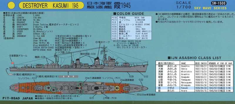 W89 1/700 日本海軍 駆逐艦 朝潮型 霞 1945