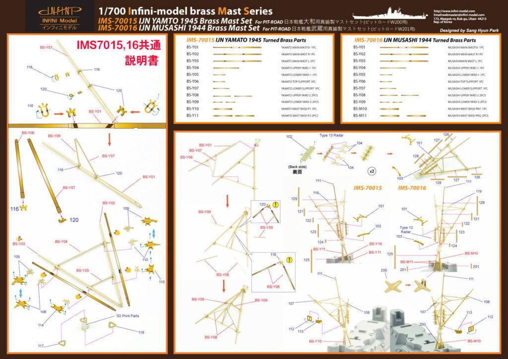 IMS7015 1/700 日本海軍 戦艦 大和 最終時(ピットロード)用 ディテールアップパーツセット