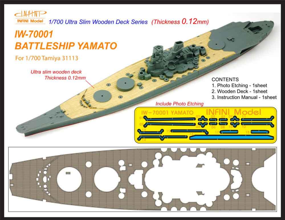 IW7001 1/700 日本海軍 戦艦 大和(T社31113)用 木製甲板 エッチングパーツ付き