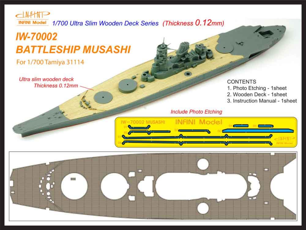 IW7002 1/700 日本海軍 戦艦 武蔵(T社31114)用 木製甲板 エッチングパーツ付き