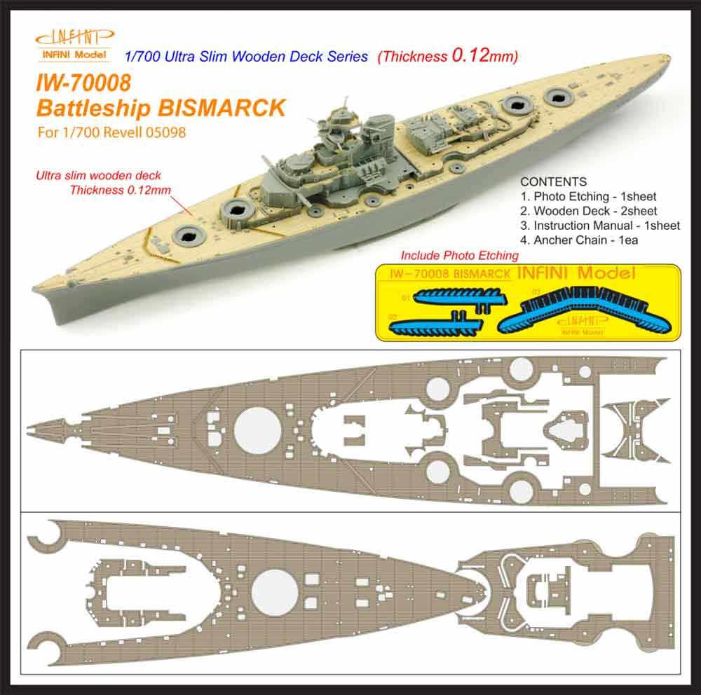 IW7008 1/700 ドイツ海軍 戦艦 ビスマルク 1941(R社05098)用 木製甲板 エッチングパーツ、アンカーチェーン付き