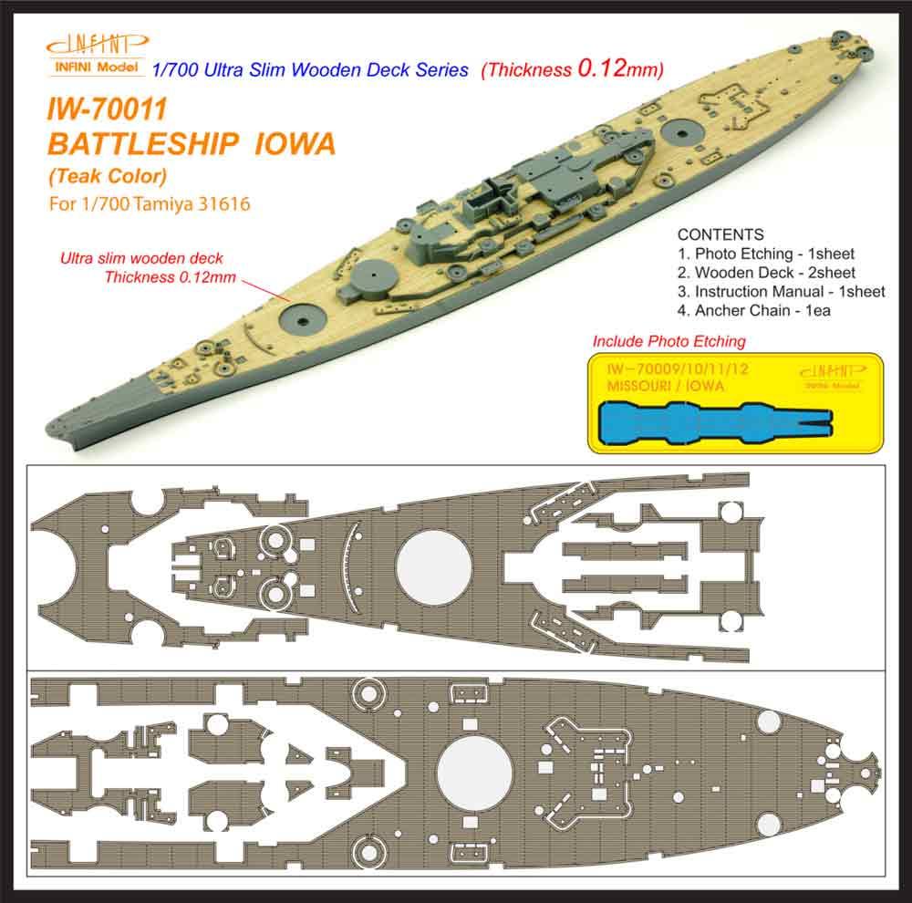 IW7011 1/700 アメリカ海軍 戦艦 アイオワ(T社31616)用 木製甲板 チーク材色 エッチングパーツ、アンカーチェーン付き