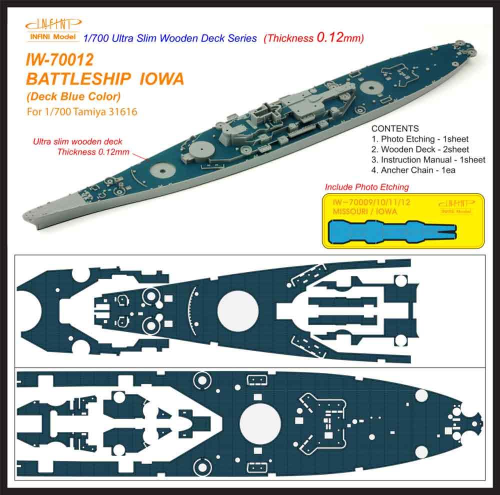 IW7012 1/700 アメリカ海軍 戦艦 アイオワ(T社31616)用 木製甲板 デッキブルー色 エッチングパーツ、アンカーチェーン付き