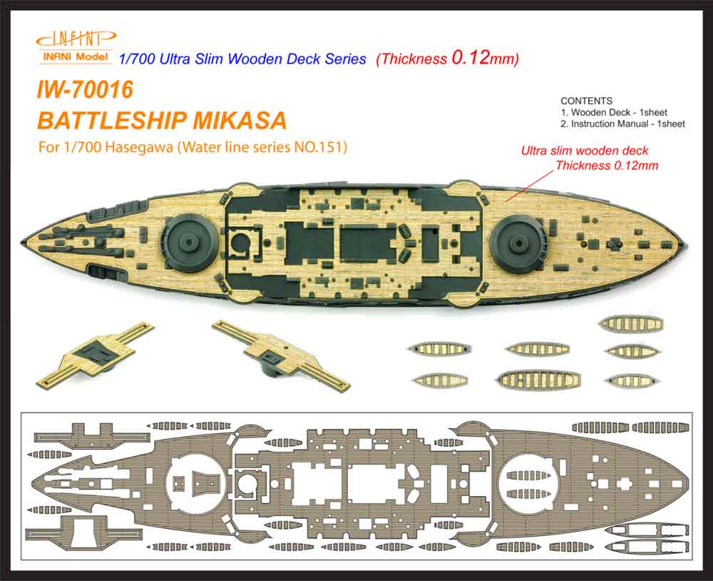 IW7016 1/700 日本海軍 戦艦 三笠(H社No.151)用 木製甲板