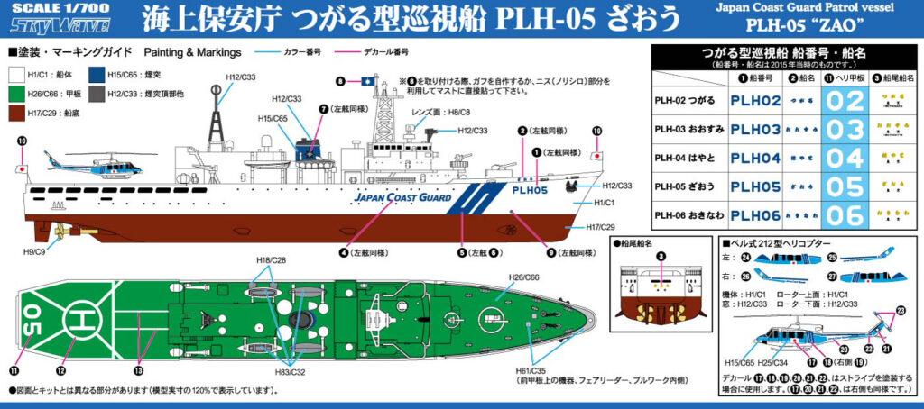 J91 1/700 海上保安庁 つがる型巡視船 PLH-05 ざおう