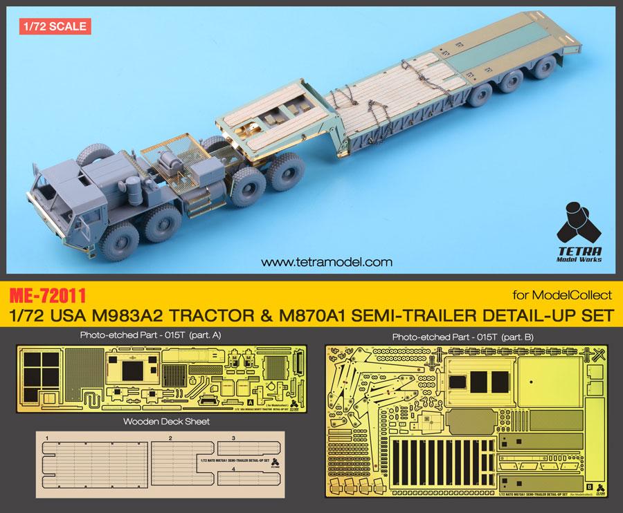 ME7211 1/72 アメリカ陸軍 M983A2 HEMTT トラクター /w M870A1セミトレーラー(MC社)用 エッチングパーツ