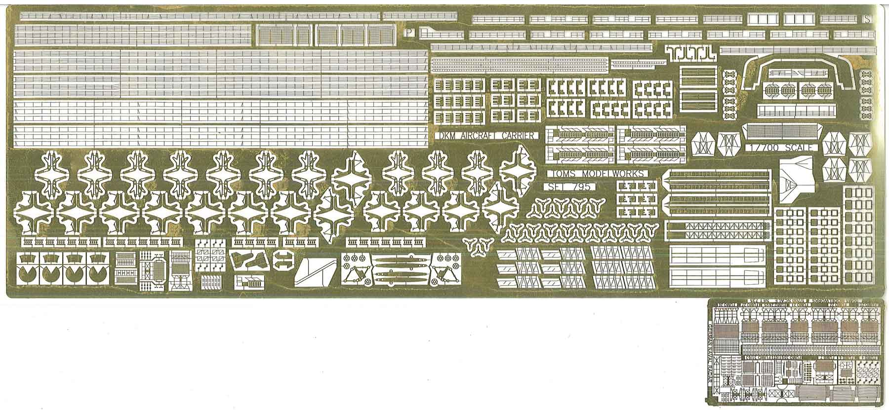 PE332 1/700 ドイツ海軍 空母 グラーフ・ツェッペリン (TR社)用 エッチングパーツ