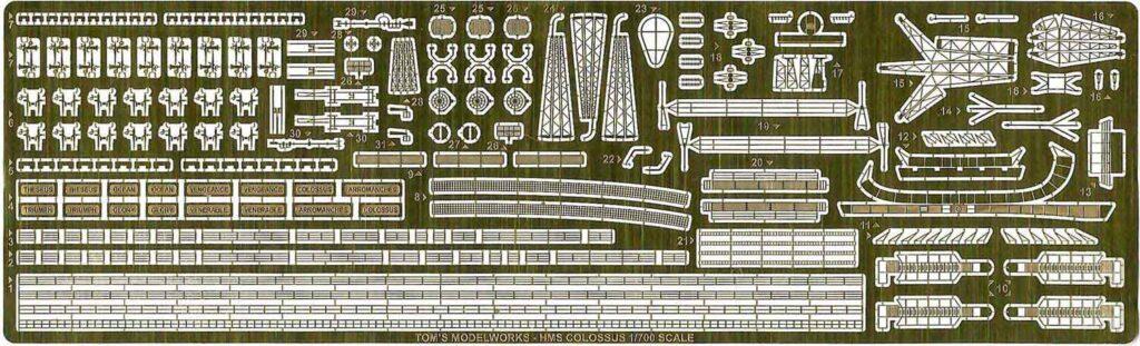 PE337 1/700 イギリス海軍 空母 HMS コロッサス(IHP)用 エッチングパーツ