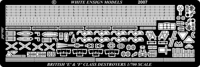 PE766 1/700 イギリス海軍 駆逐艦 E級(T社)用 エッチングパーツ