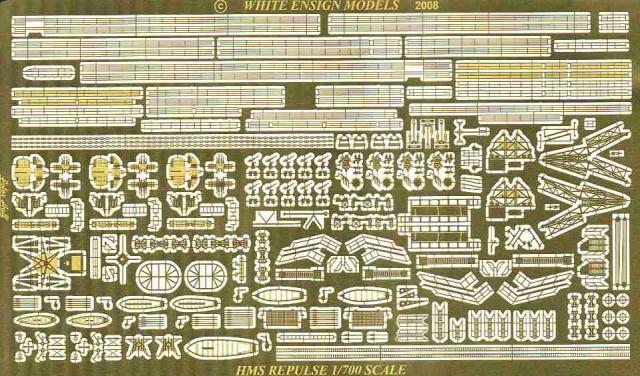 PE780 1/700 イギリス海軍 巡洋戦艦 レパルス(T社)用 エッチングパーツ