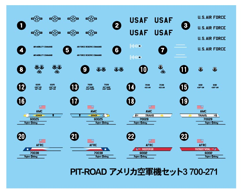 S55 1/700 アメリカ空軍機セット 3