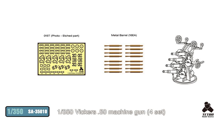 SA3510 1/350 イギリス海軍 12.7mm 4連装機銃(4基入り)