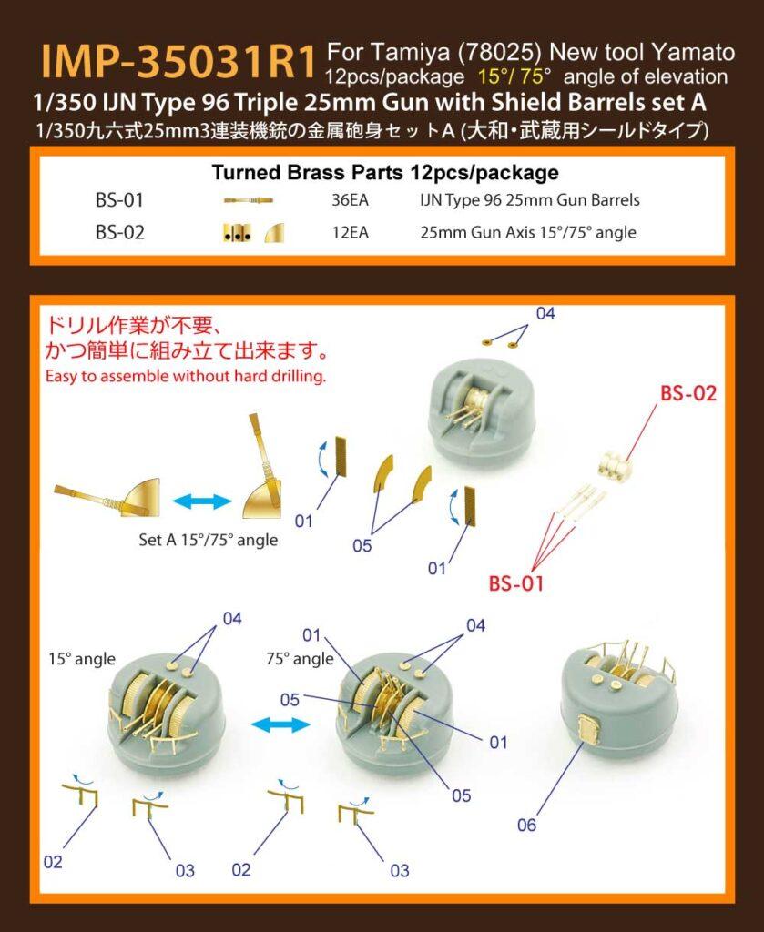 IMP3531 1/350 日本海軍 九六式25mm3連装機銃シールド付き A(15°/ 75°) (T社 大和・武蔵用)