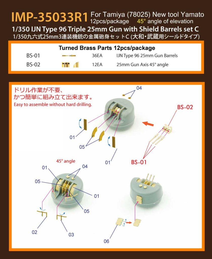 IMP3533 1/350 日本海軍 九六式25mm3連装機銃シールド付き C(45°) (T社 大和・武蔵用)