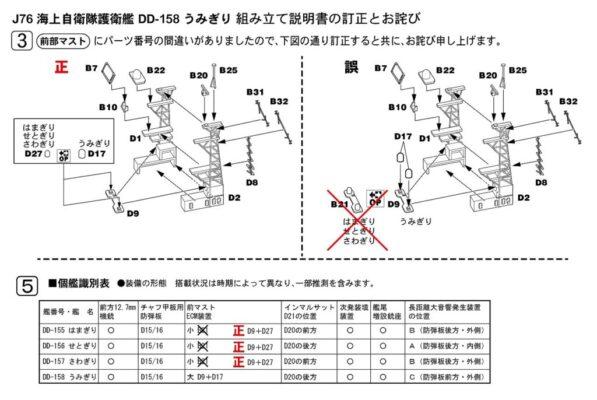 J76「1/700 海上自衛隊 護衛艦 DD-158 うみぎり」の説明書に関するお詫びと訂正