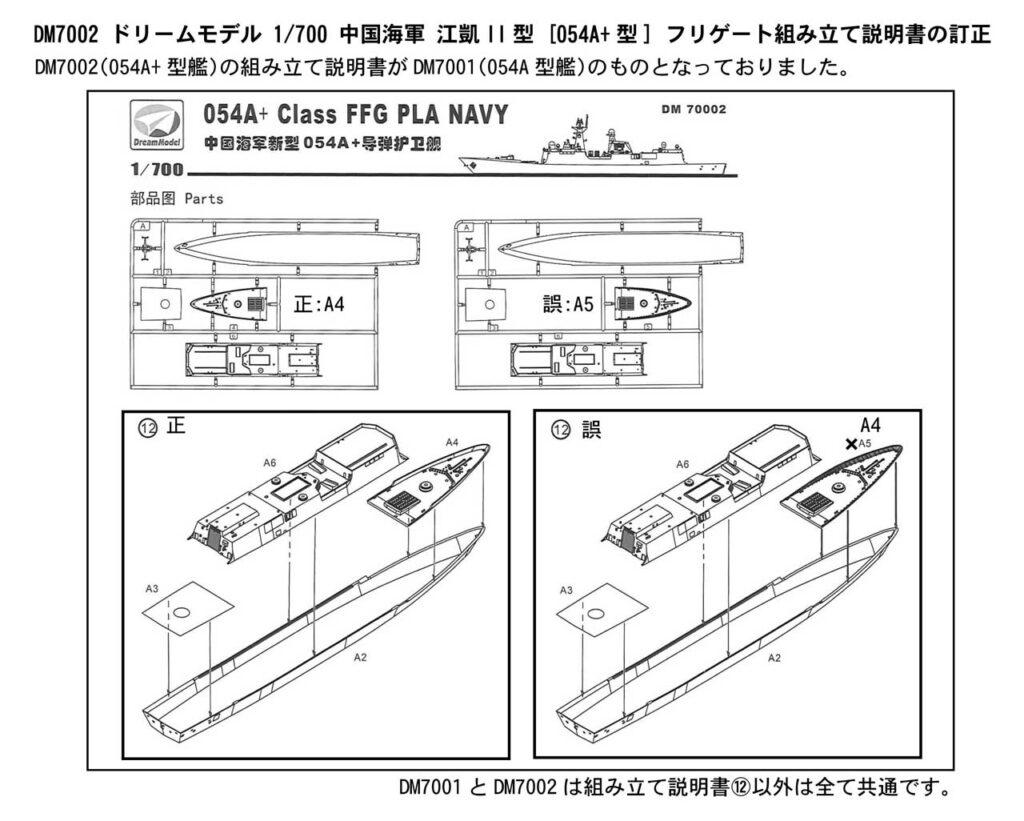 DM7002「1/700 中国海軍 江凱II型(054A+型)フリゲート」説明書に関するお詫びと訂正