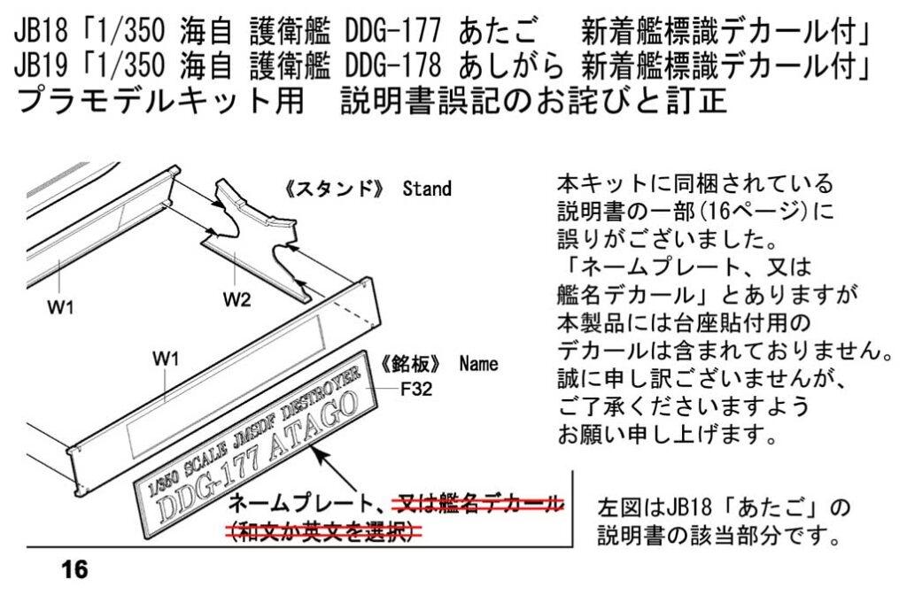JB18「1/350 あたご」、JB19「1/350 あしがら」説明書に関するお詫びと訂正