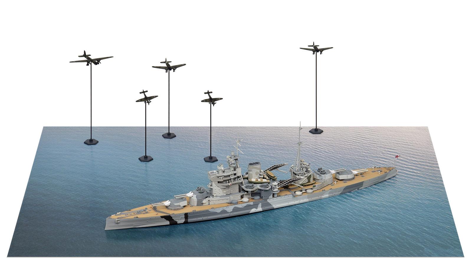 SPS20 1/700 イギリス海軍 戦艦 クイーン・エリザベス VS ドイツ空軍